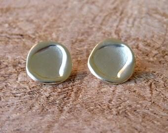 Gold Earings - Handmade Oval Button Shape