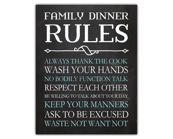 Chalkboard Wall Art family dinner rules funny home decor chalkboard wall decor