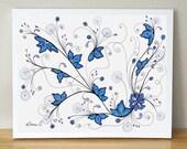 Sky Blue Lilac Flowers drawing / Living Room Decor / Fantasy Art / Original Painting / Home & Wall decor