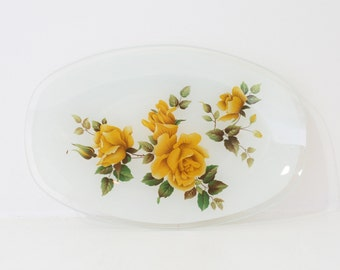 Vintage Granny Chic Trinket/Jewellery Dish with Yellow Rose Pattern