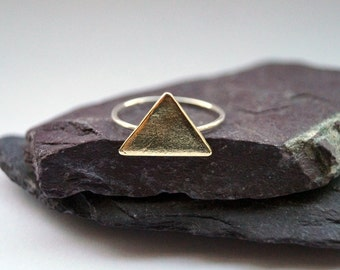 Skinny Big Triangle Sterling Silver Ring ~ stacking ring, triangle, geometry, brass