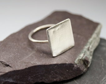 Big Square Sterling Silver Ring ~ stacking ring, triangle, geometry