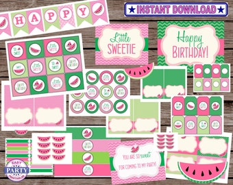 Watemelon Party Package, pink and green, instant download, watermelon party, summer picnic, happy birthday banner, cupcake toppers