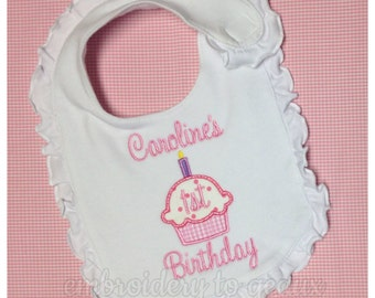 First Birthday Cupcake Bib