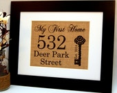 My First Home - Personalized Burlap Housewarming Gift with Address and Year Established