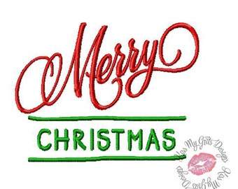 Merry Christmas Script #2  Machine Embroidery Design