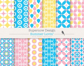 """FREE COMMERICAL use 40% Off Retro Digital Paper Pack """"Summer Lovin"""" Blue, Pink, Yellow, Scrapbooking Papers. Geometric."""