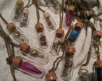 Steampunk glass bottle pendant necklace.