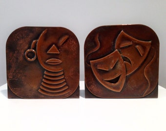 Rebajes Mid-Century Modern Copper Bookends Signed