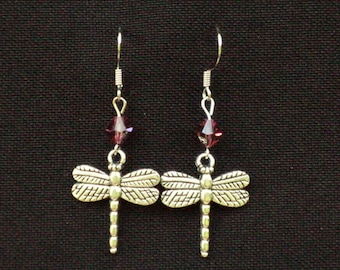 Dragonfly Dangle Earrings with Pink Crystal