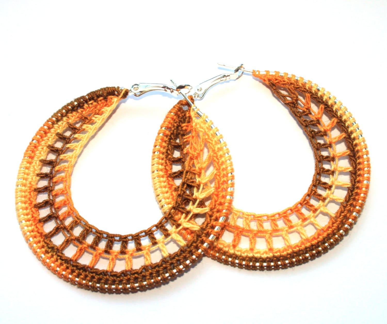 crochet hoop earrings 70mm silver plated drop by faustajewelry