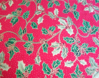 Quilting Treasures Holiday Classics Red w/Green Holly Fabric  484