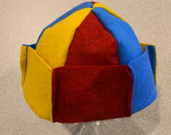 Whoopee Caps, Button Beanies, Jughead Crowns - Yellow(Mustard)/Blue/Red - Small (Infant/Baby)