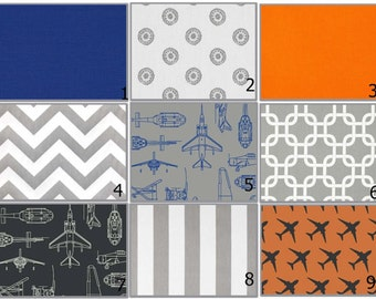 Custom 2 or 3 piece Crib Bedding - Airplane Orange Grey Blue Sketch