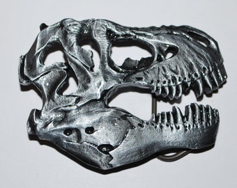 Metal DINOSAUR T-REX Skull Belt Buckle - Awesome For Fossil Lover! 4o