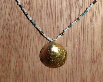 Lovely  Gold Leafed Clam Shell On Bead Necklace
