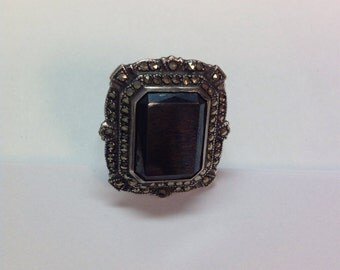 Vintage Large Sterling Silver Hematite and Marcasite Ring