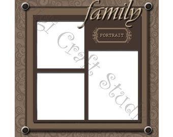 Family Digital Scrapbook Quick Page 12 x 12 jpg and png format..