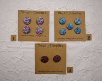 Handmade Liberty Fabric Buttons Collection B
