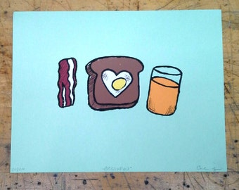 I Love Breakfast 6 Color Screen Print