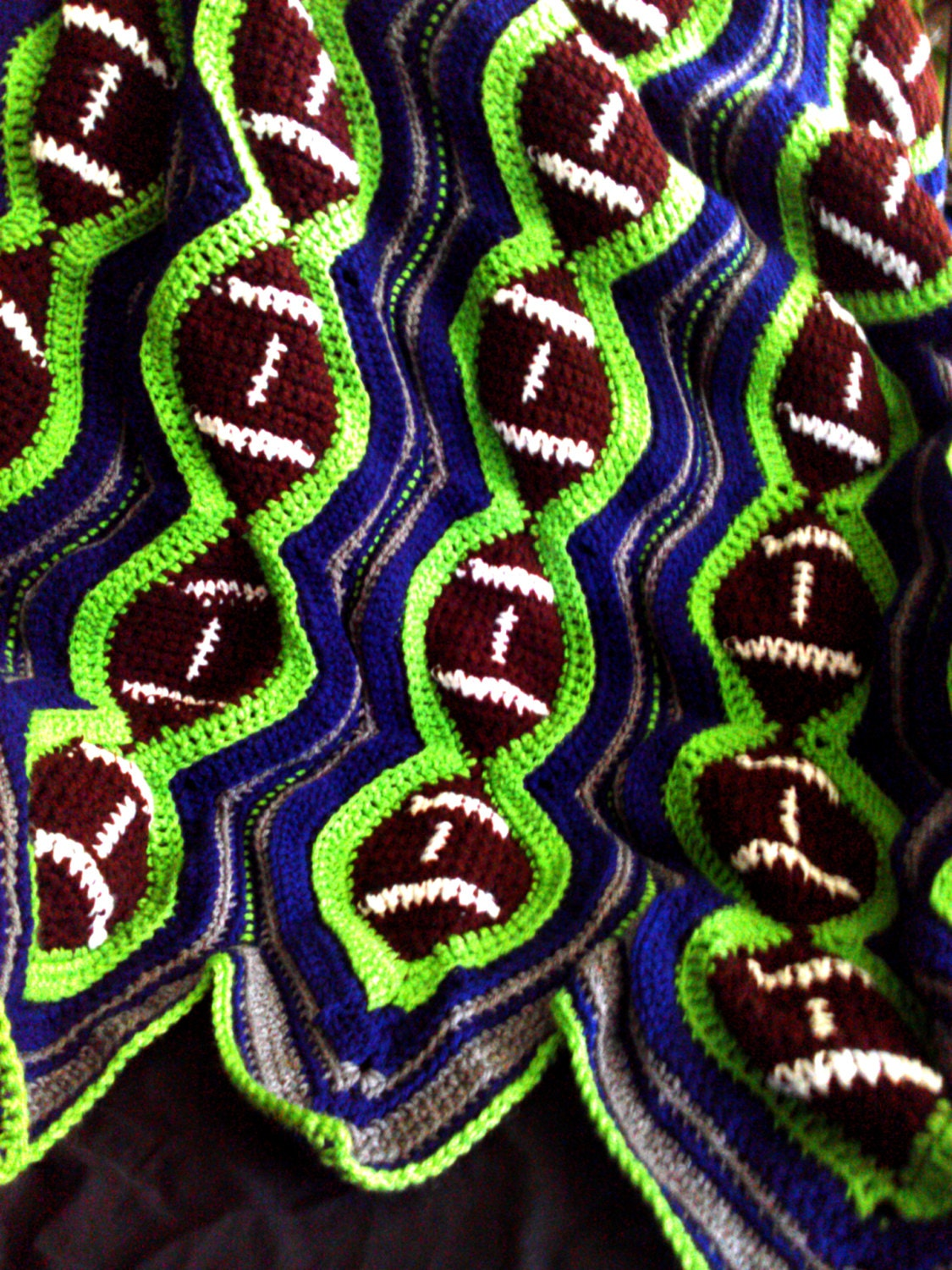 Crochet Pattern For Football Blanket : Crochet football blanket in Seattle SeaHawks colors by ...