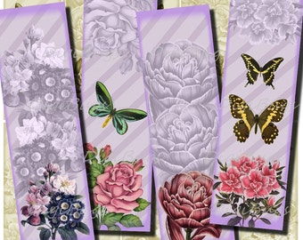 Printable Bookmarks - Romantic Butterflies with Flowers - Vintage Images, Lilac Background, Instant Download, Digital File - DigiBugs