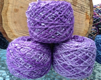 Pearlescent Purple and White Upcycled Sweater Yarn