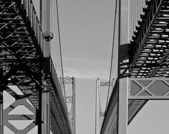 Tacoma Narrow Bridges, black and white, puget sound, art, canvas photo art, photo prints, Pacific Northwest, twin bridges,