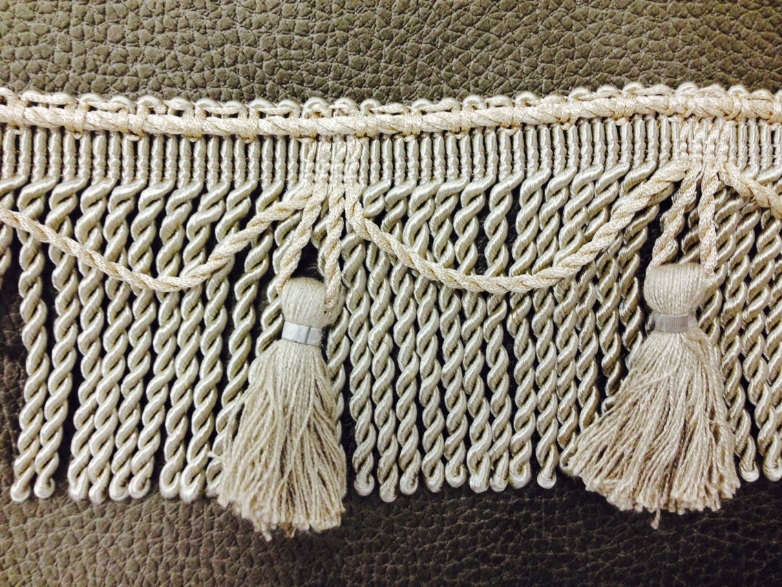 Taupe bullion tassel fringe home decor trim by the yard for Trim a home outdoor decorations