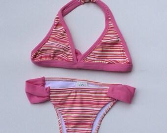 Pink Striped Bikini (Childrens Size 8)