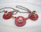 Vintage inductors and copper resistor recycled necklace steam punk geek