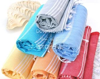 Luxury Cotton Towel SET of 6 - Turkish Bath Towel Beach Towel Peshtemal Towel Bathroom Towel Fouta Towel Wrap Bath Beach Sarong Towel