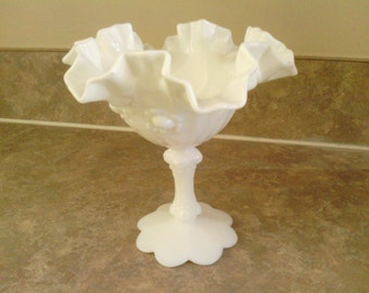 Desirable Milk White  Compote Scalloped Candy Dish.