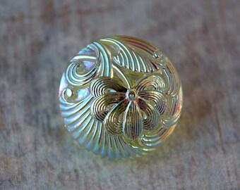 Czech Glass 18MM Button Yellow Jonquil (1)