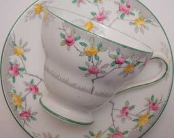 Royal Chelsea Fine Bone China Tea Cup and Saucer Grey Abstract Pink Yellow Roses Green Trim