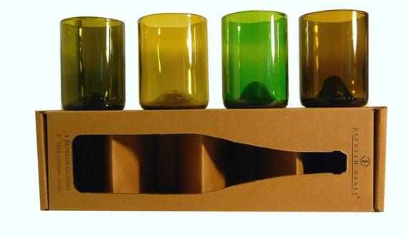 12oz 4 tall recycled wine bottle glasses set of 4. Black Bedroom Furniture Sets. Home Design Ideas