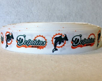 7/8 Miami Dolphins Grosgrain Ribbon