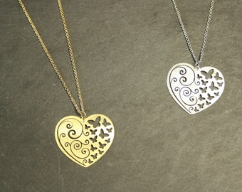 Heart Gold / Rhodium  Plated Necklace