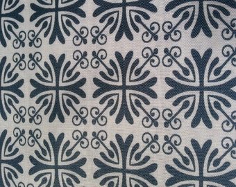 ON SALE Today - Moonflower Gray Tile Print Fabric - Denise Urban - Quilting Treasures  -  Designer Fabric By the Half Yard