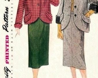 Simplicity 8417 Mouth Watering Two-Piece Suit / ca. 1949 / SZ12 UNCUT