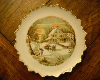 Currier and Ives Plate - The Homestead in Winter