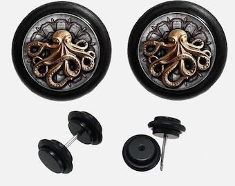 Octopus Plugs ,Fake Ear plugs-Pairs 16g 1.2mm Plugs Body Piercing-Steampunk  Plugs-Ear Plugs Earrings Gauge