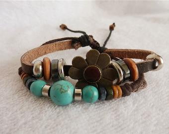 Leather turquoise bracelet beaded silver metal flower wood fashion design