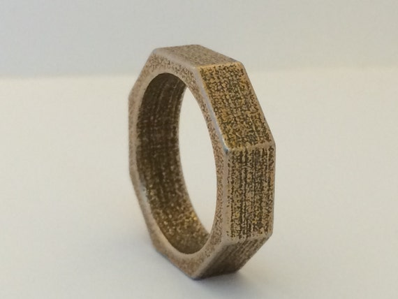 6mm Mens Steel Wedding Band Nut And Bolt Style Rustic Looking