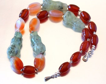 Long Gemstone Beaded Necklace, Red Agate and Prehnite Necklace, Fashion Unusual Necklace, Large Beads, Chunky Necklace