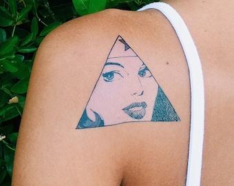 Triangle tattoo etsy for Wonder woman temporary tattoo