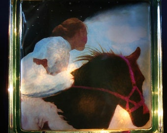 "Glass Photo Light Box Of Girl On Winged Horse ""Flying Home"