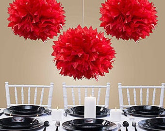 Tissue Paper Flowers set of 30 (10/10/10) -  Hanging Flowers - Paper Pom Poms - Paper Balls - Wedding set - Birthday decorations