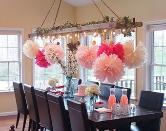 12 (L, M or S size) Flowers - Candy Shop Theme - Hanging Flowers - Paper Pom Poms - Paper Balls - Wedding set - Birthday decorations