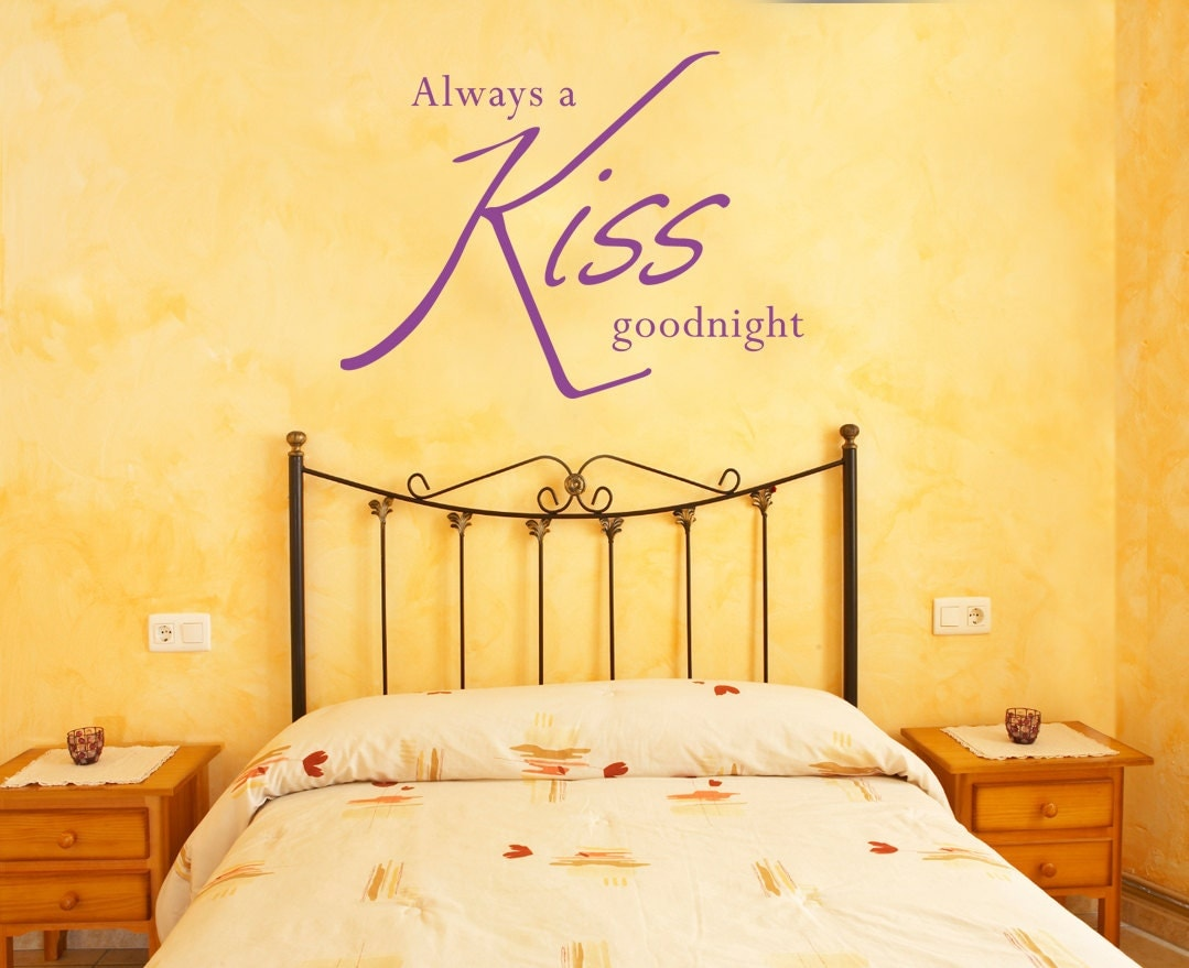 Always a kiss goodnight... Wall art quote sticker ...